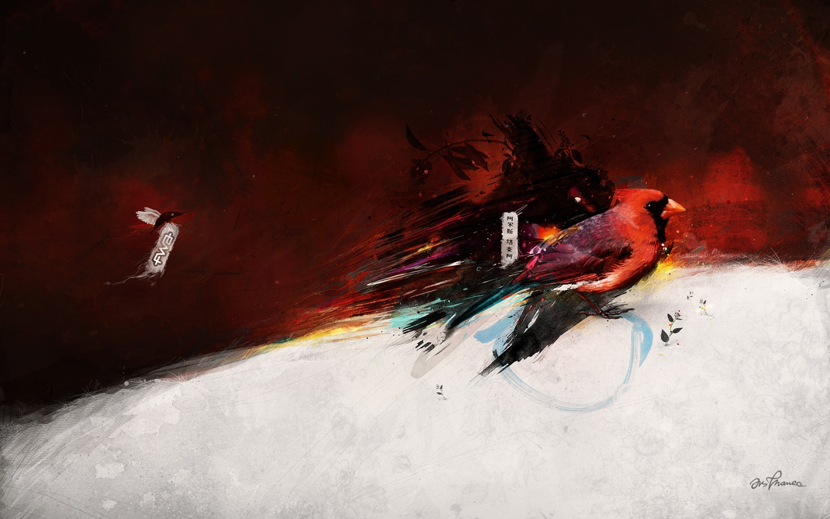 click to free download the wallpaper--Hand-Drawn Pics of Animals - Colorful Bird Post in Pixel of 1680x1050, Bird Flying by, is Good Scene 1680X1050 free wallpaper download