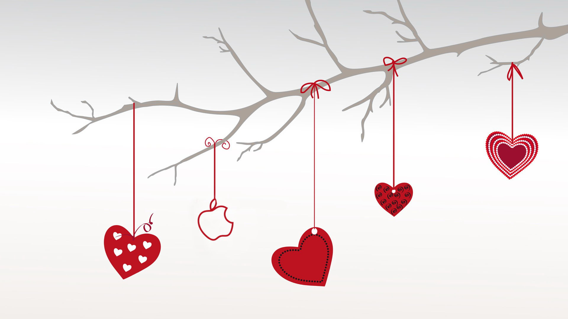 Hangings in Heart Shape and Red Color, Style is Simple and Clean
