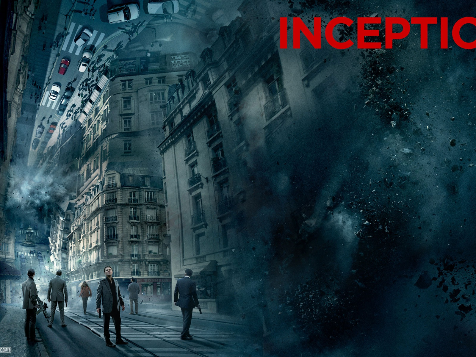 click to free download the wallpaper--High Resolution Movies Poster, Inception, All Guys in Stand, Be Cautious of Explosion