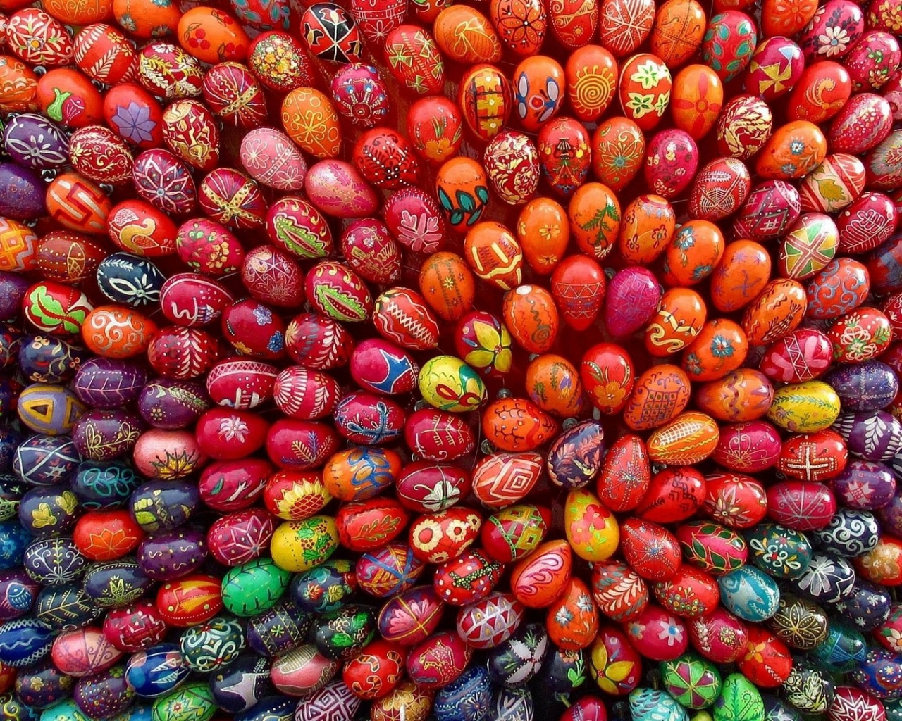 click to free download the wallpaper--Holiday Poster, a Full Screen of Easter Eggs, Colorful and Impressive 1280X1024 free wallpaper download