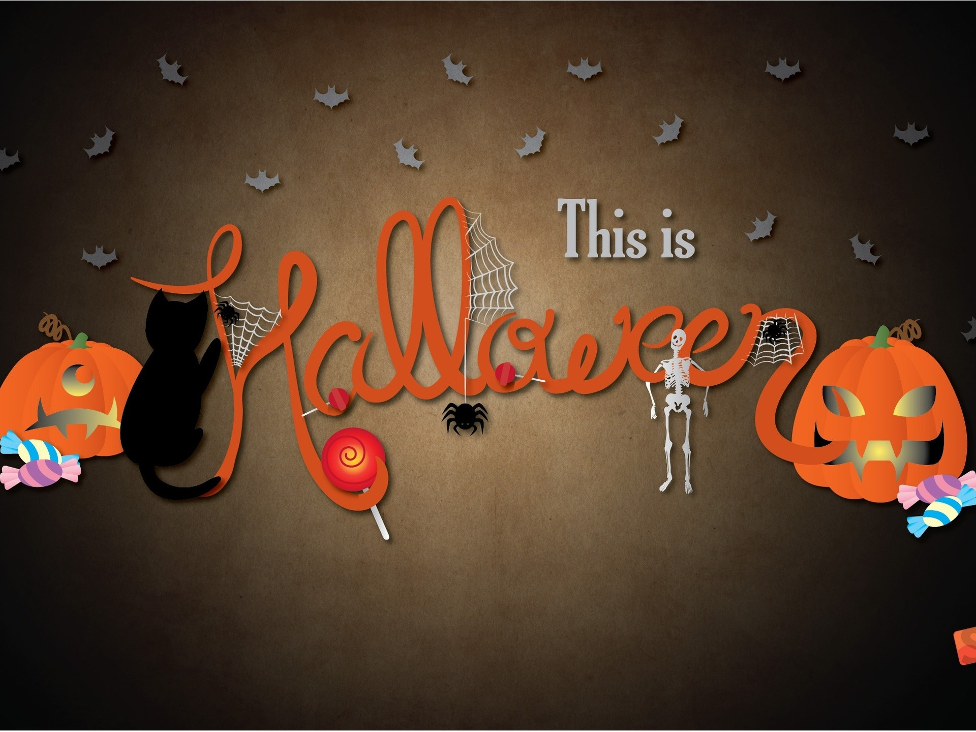 click to free download the wallpaper--Holiday Wallpaper, Halloween's Day, Scary Pumpkins and Black Mysterous Cats 1920X1440 free wallpaper download