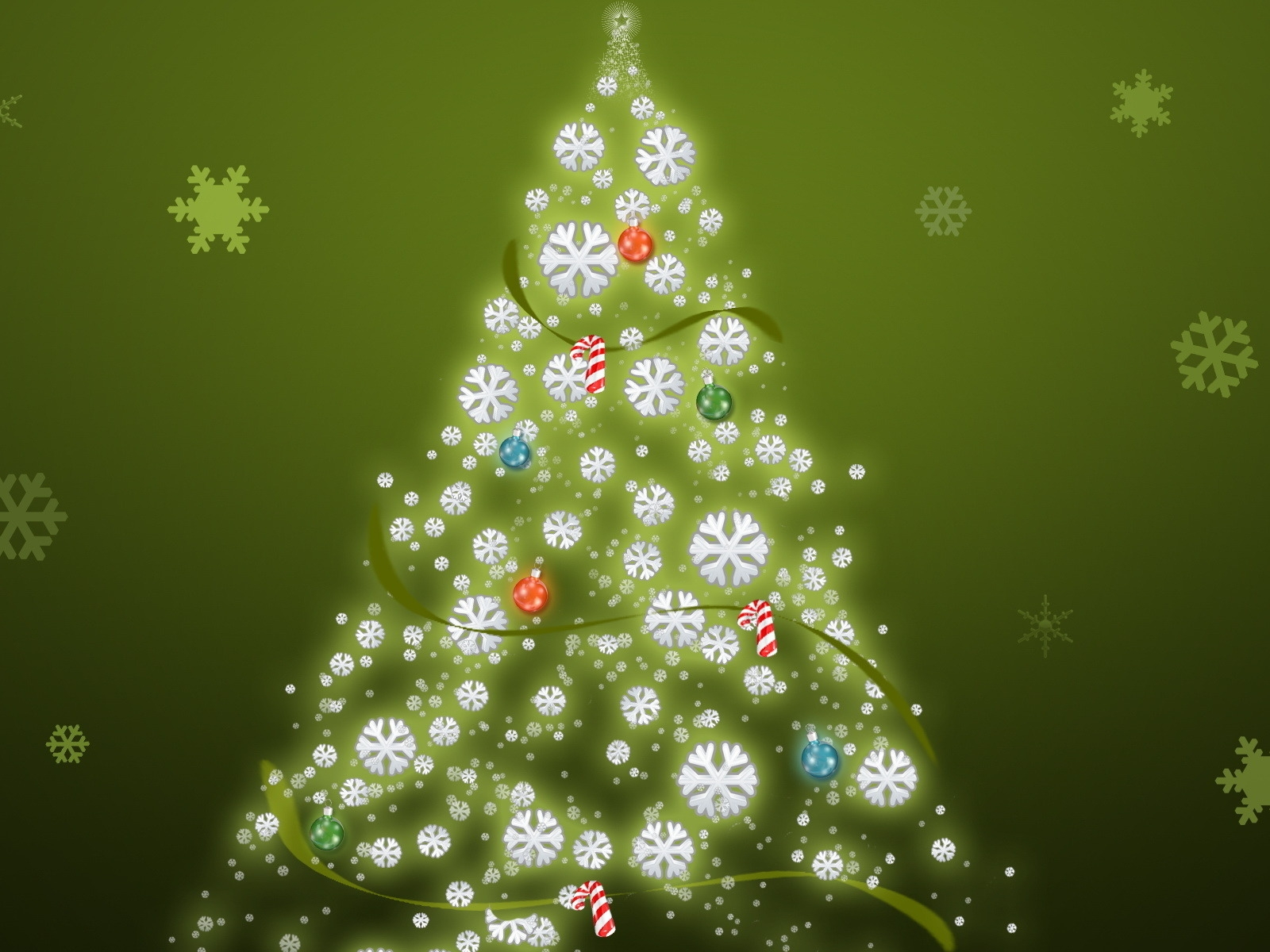 click to free download the wallpaper--Holiday Wallpaper, a Simple Christmas Tree, Snowflake as Background, Incredible Look