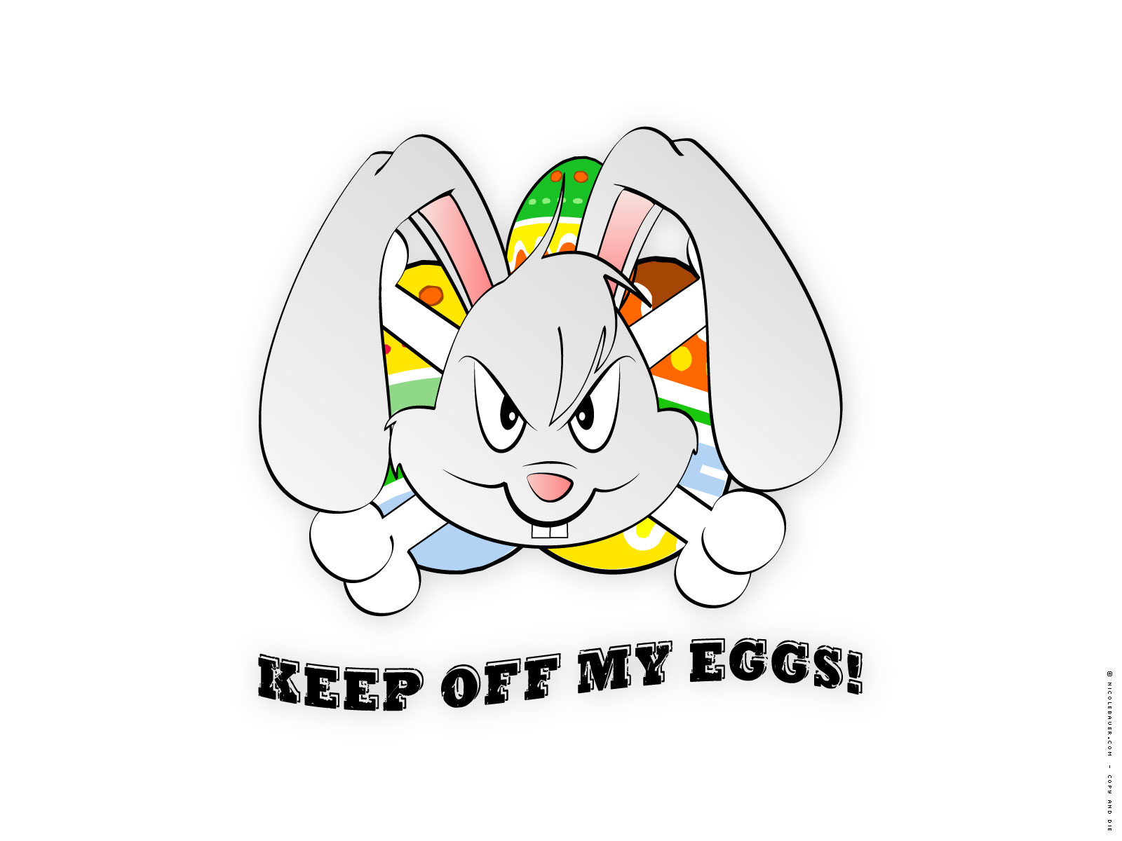 click to free download the wallpaper--Holiday Wallpaper, the Rabbit, Protective of the Easter Eggs, Stay Away from Them