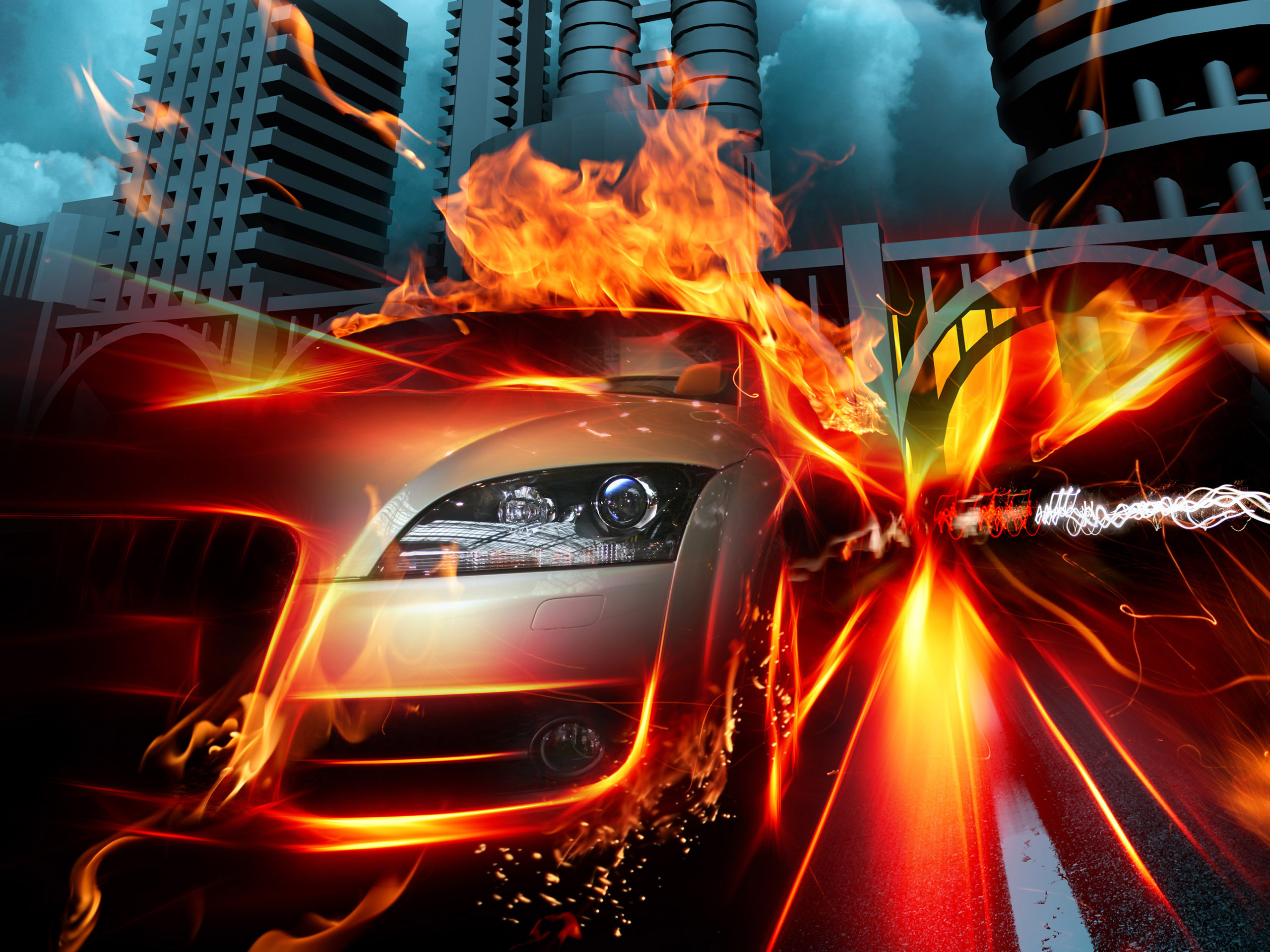 click to free download the wallpaper--Images of Cars - Car in Fire City Post in Pixel of 2560x1920, a Firing Car, Stay Away from It, Can Explode at Any Minute 2560X1920 free wallpaper download