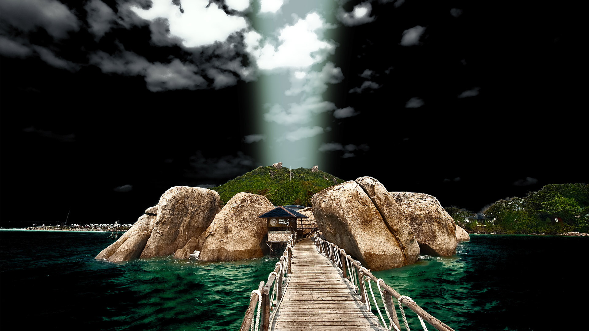 click to free download the wallpaper--Images of Natural Scene - A Wooden and Clean Bridge Across the Blue Sea, Lightning from Heaven 1920X1080 free wallpaper download