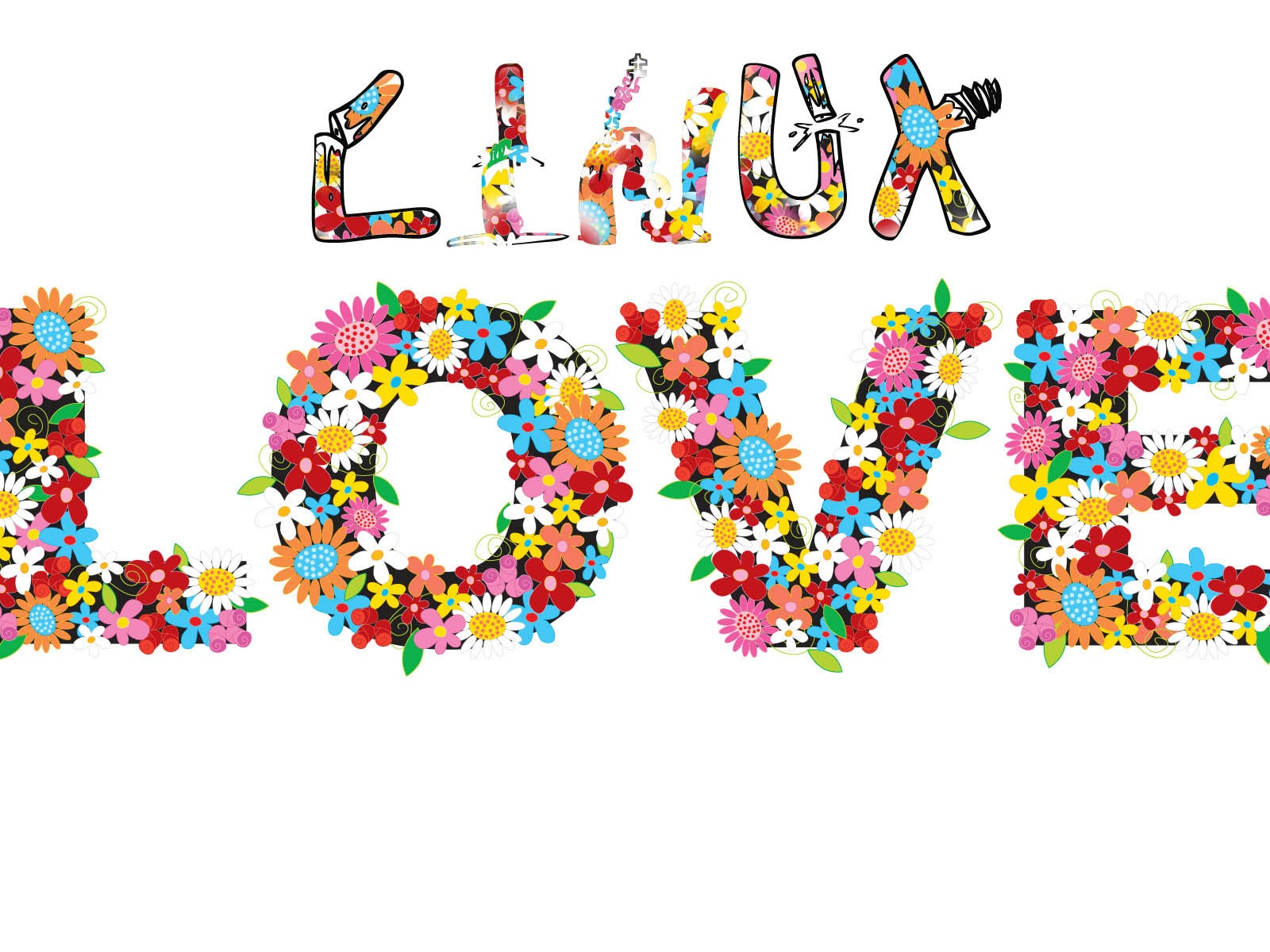 click to free download the wallpaper--Images of Nature Landscape, Linux Love, All Letters Surrounded by Flowers, White Background