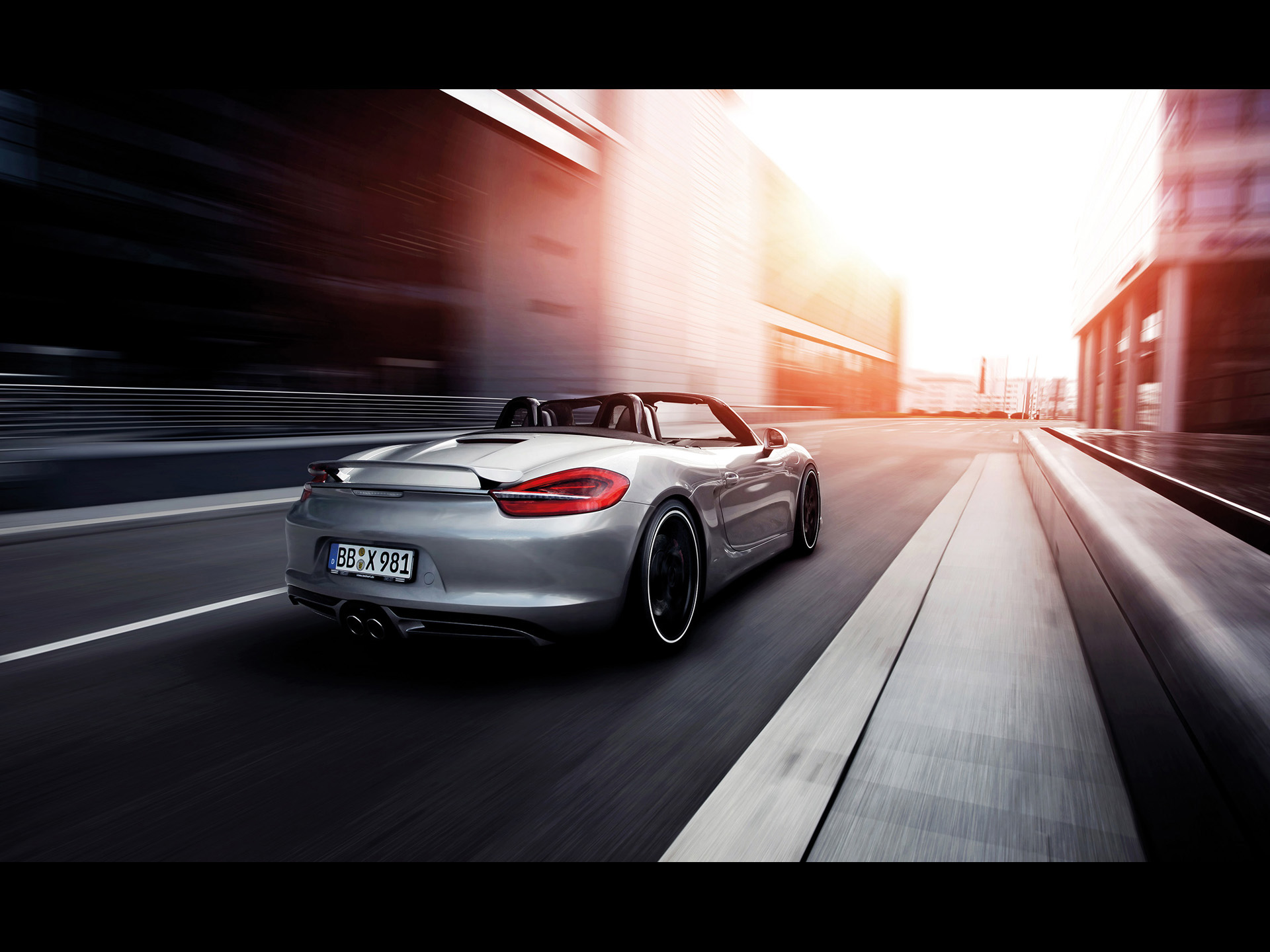 click to free download the wallpaper--Images of Super Cars, Porsche Boxster Seen from Motion Rear, is Looking Good 1920X1440 free wallpaper download