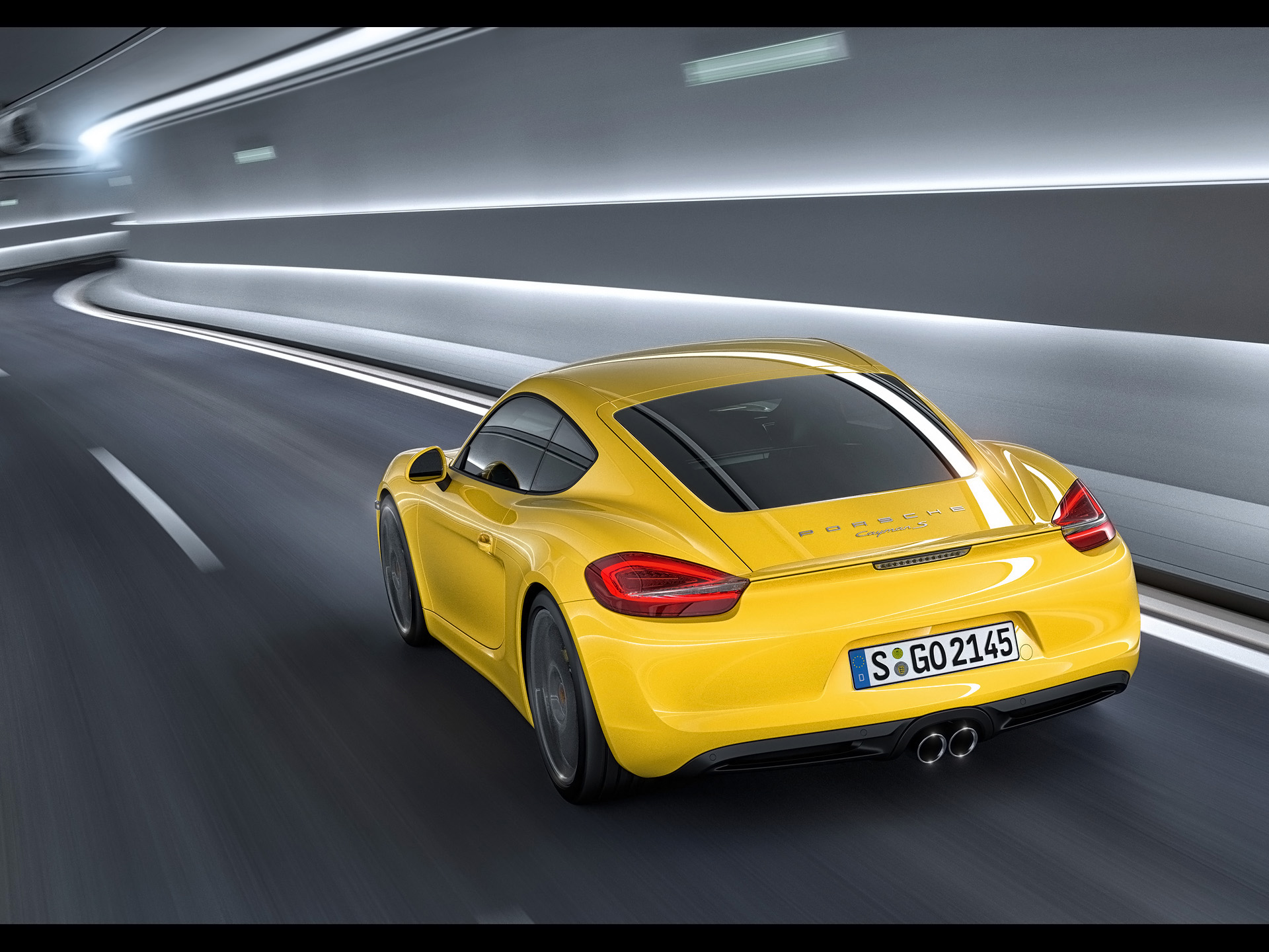 click to free download the wallpaper--Images of World-Known Cars, Porsche Cayman Seen from Rear Angle, Yellow Car in Tunnel 1920X1440 free wallpaper download