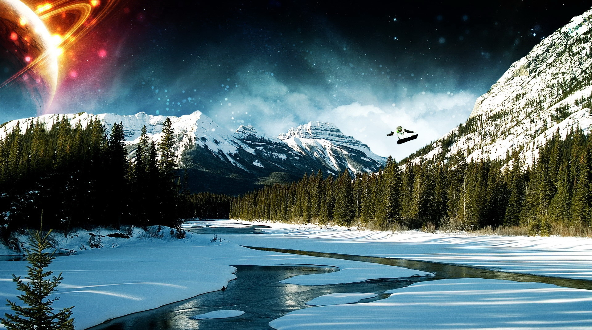 click to free download the wallpaper--Natural Scenery image - A Man in Skate, the Shinning Planet, the River is with Snow, a Clean World! 1920X1080 free wallpaper download
