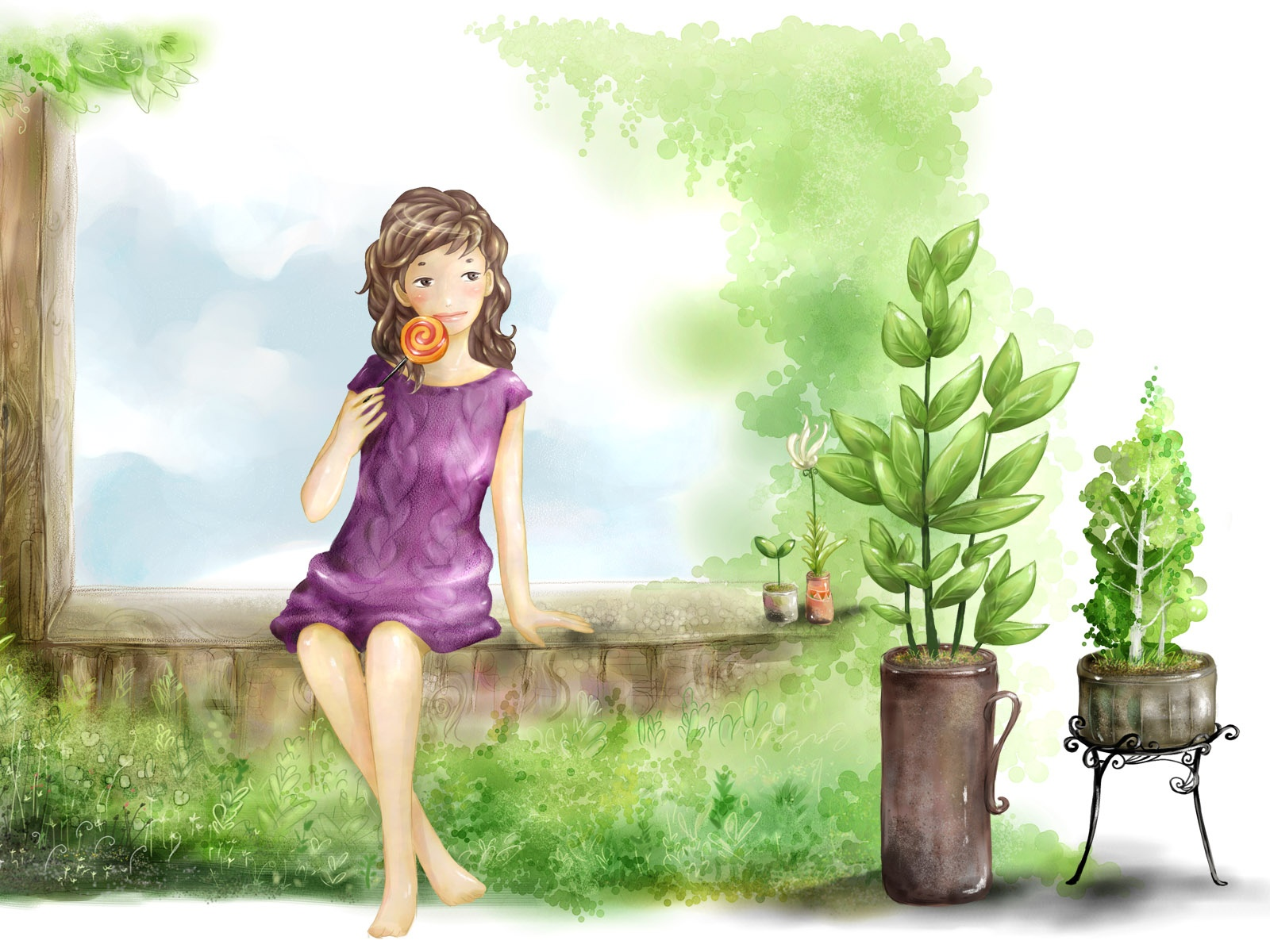 click to free download the wallpaper--Nature Landscape Image, a Lollipop Girl Among Green Plants, Comfortable Life