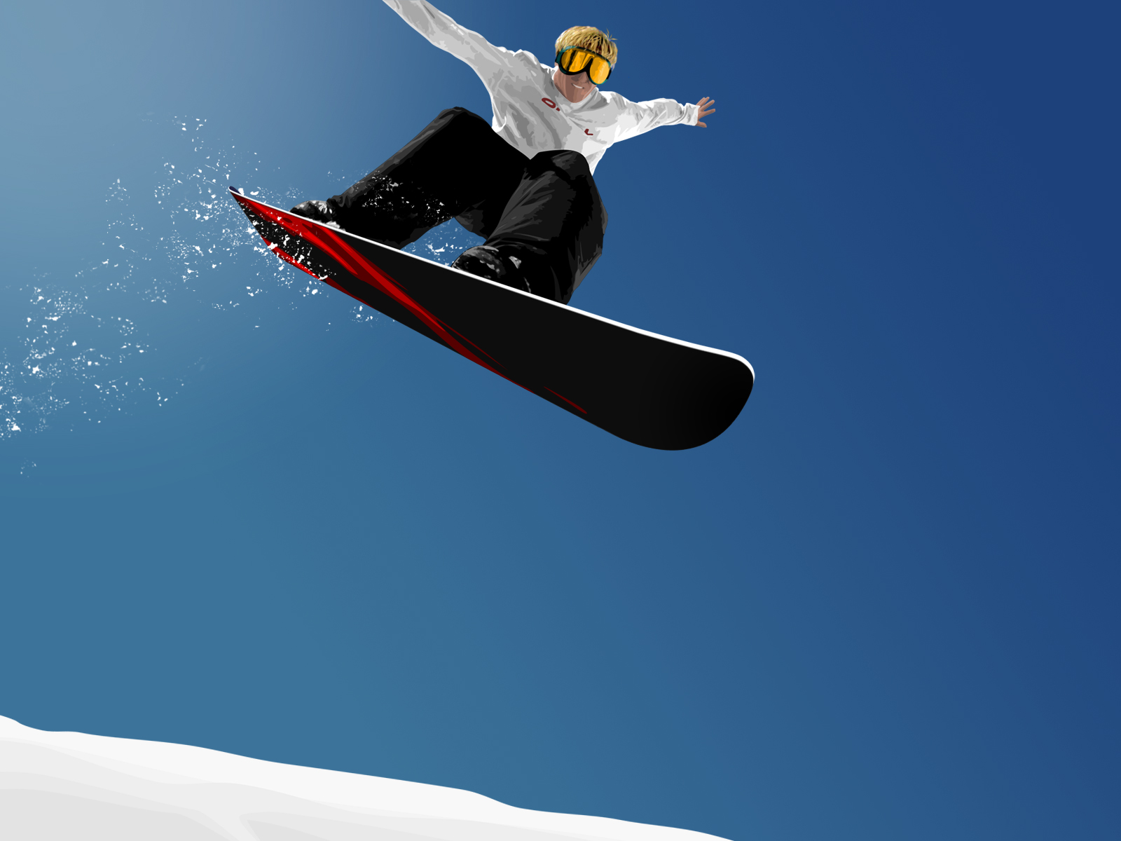 click to free download the wallpaper--Photos of Nature Landscape, Man in Snowboarding Play, the Blue and Mirror-Like Sky