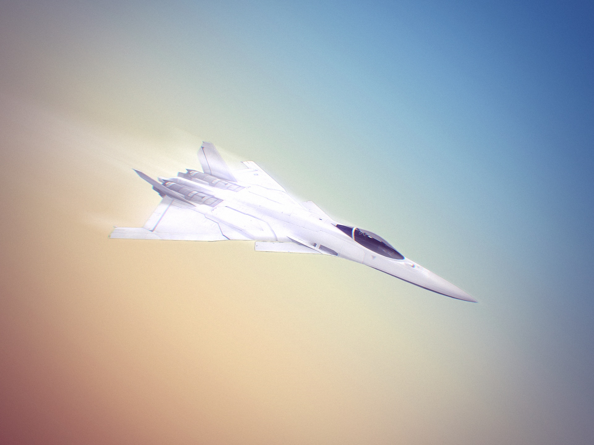 click to free download the wallpaper--Pics of Ace Combat, an Aeroplane in Fast Speed, the Blue Sky, It is Like an Arrow  1920X1440 free wallpaper download