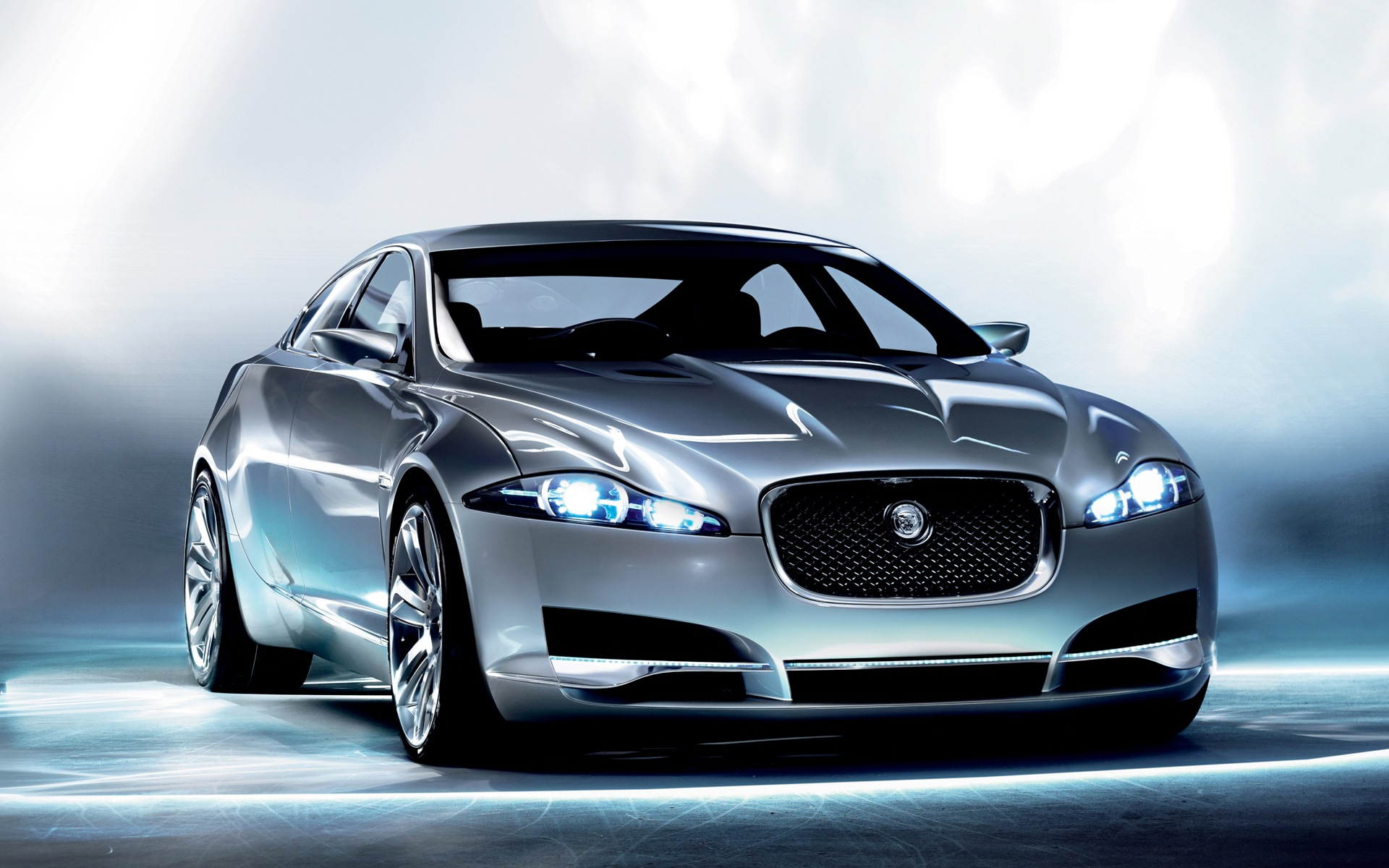 click to free download the wallpaper--Pics of Cars - Jaguar C XF Concept in Pixel of 1920x1200, Turned on Lights, Smooth Car Lines, Looking Indeed Good 1920X1200 free wallpaper download