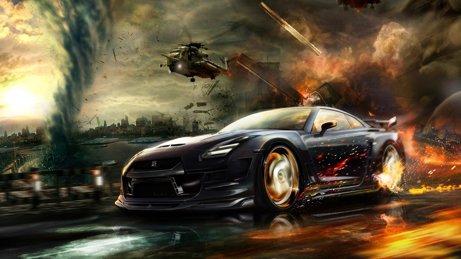 click to free download the wallpaper--Pics of Cars - Nisaan GTR Race Post in Pixel of 1920x1080, Cool Car Escaping from an Explosion, Great Speed 1920X1080 free wallpaper download