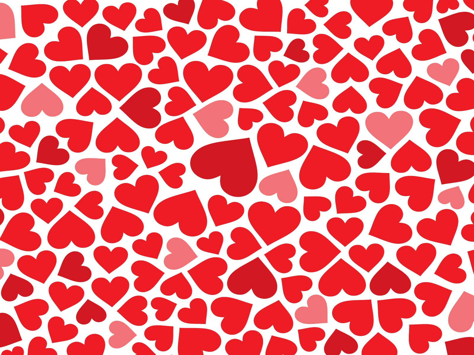 click to free download the wallpaper--Romantic Post, Red Hearts in Various Sizes, Red to Pink, Seem on the Move