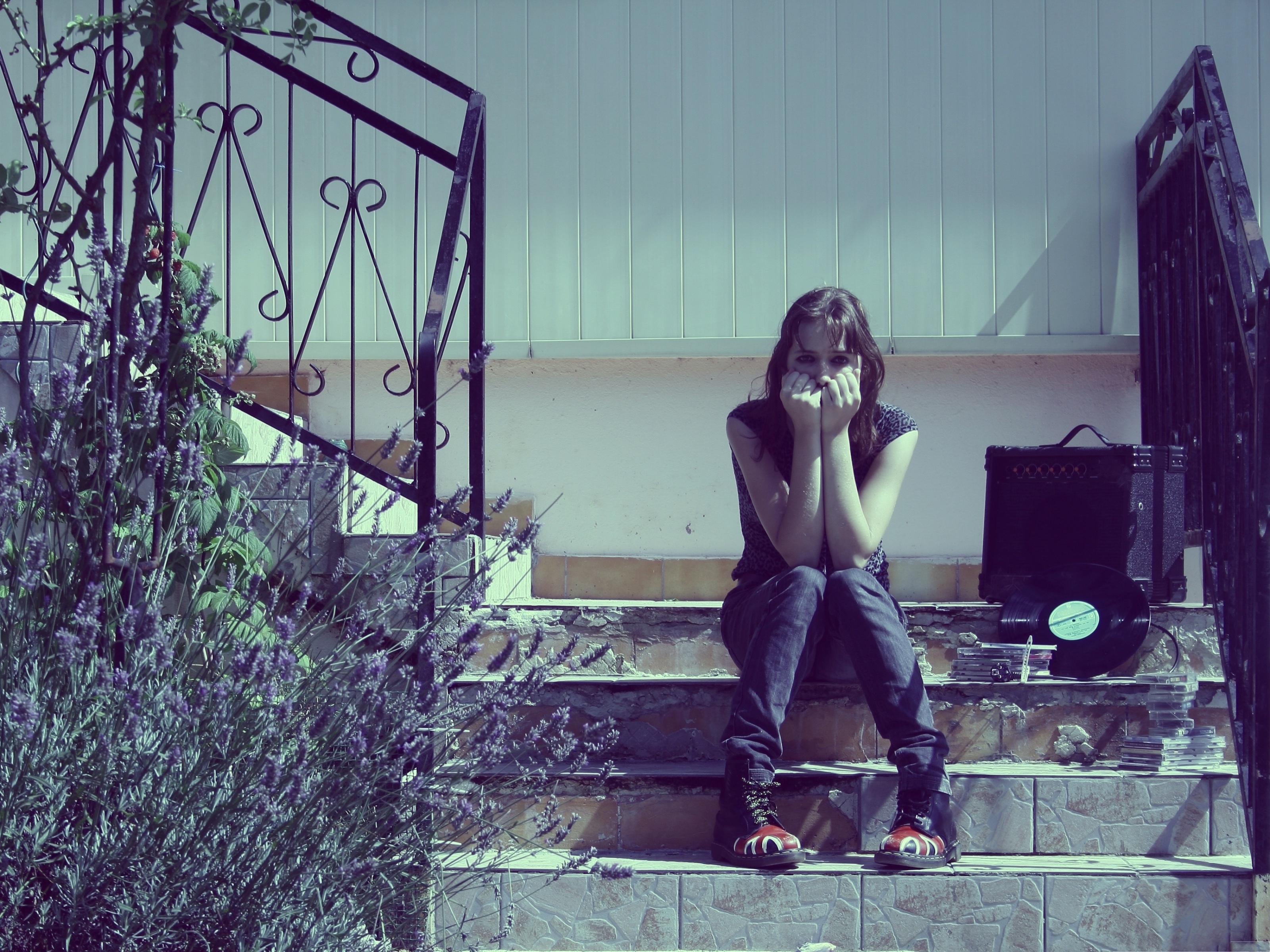 Sad Girl Images Sitting On Stairs She Is Crying With The Tape And