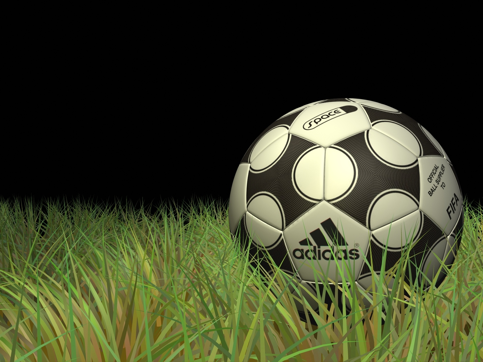 click to free download the wallpaper--Sports Activity Wallpaper, Adidas Football, Green Grass, Black Background 1600X1200 free wallpaper download
