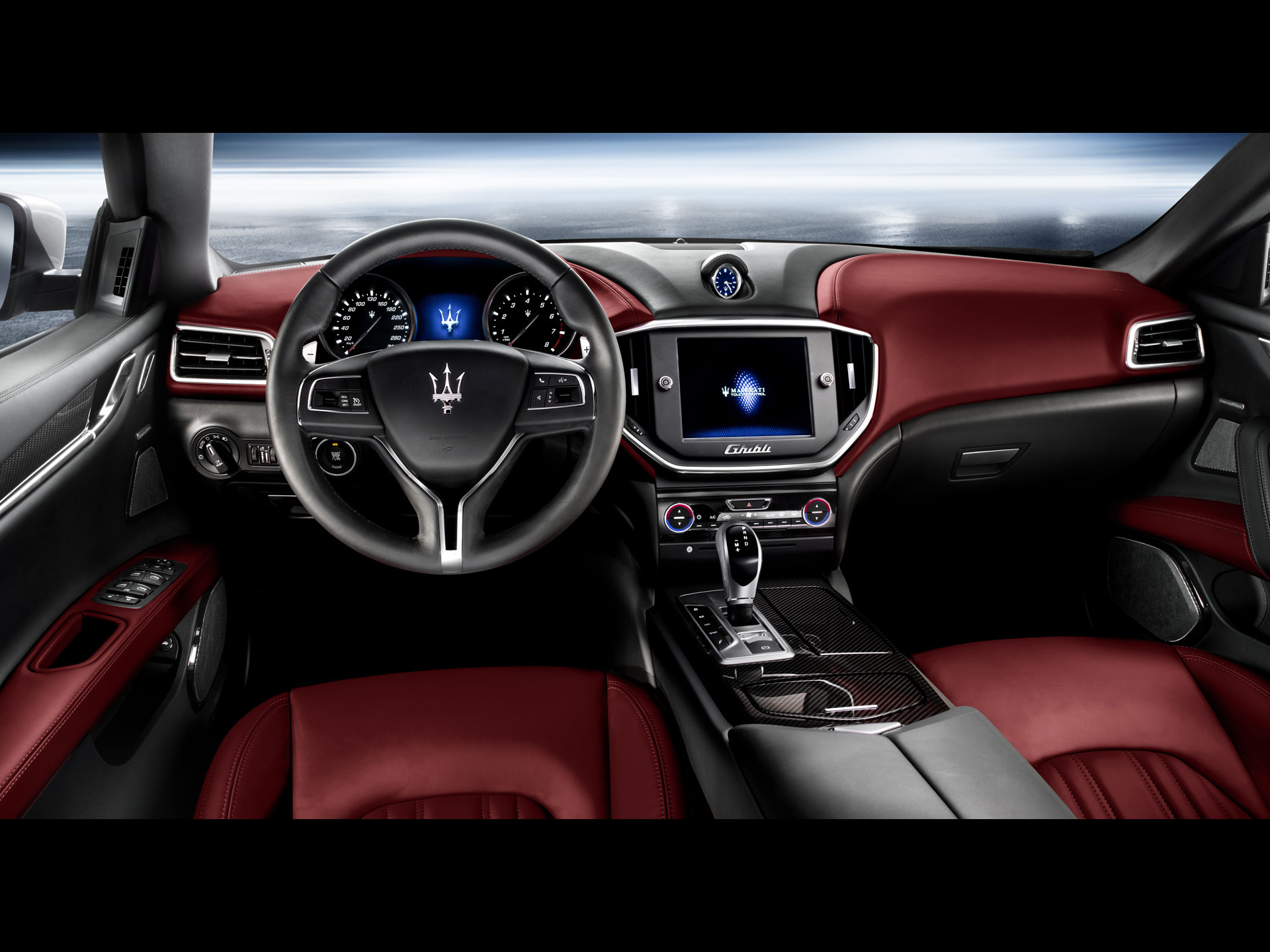 Super Car Images of Maserati Ghibli, Static Dashboard in Gray and Red, Decent and Great in Look 1920X1440 free wallpaper download