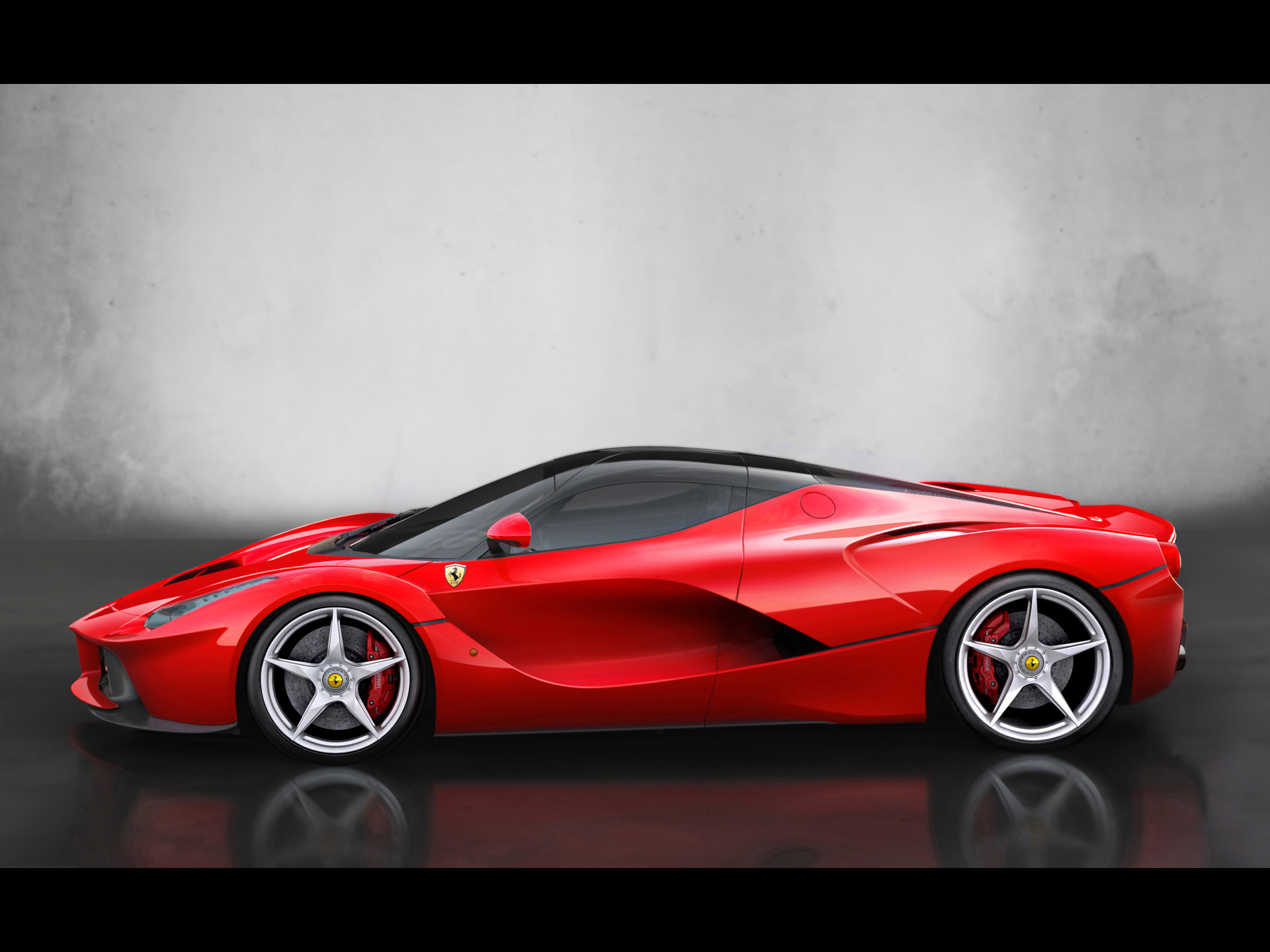 click to free download the wallpaper--Super Car Post of Red Ferrari, Stopping on Black Background, Combine an Impressive Look 1920X1440 free wallpaper download