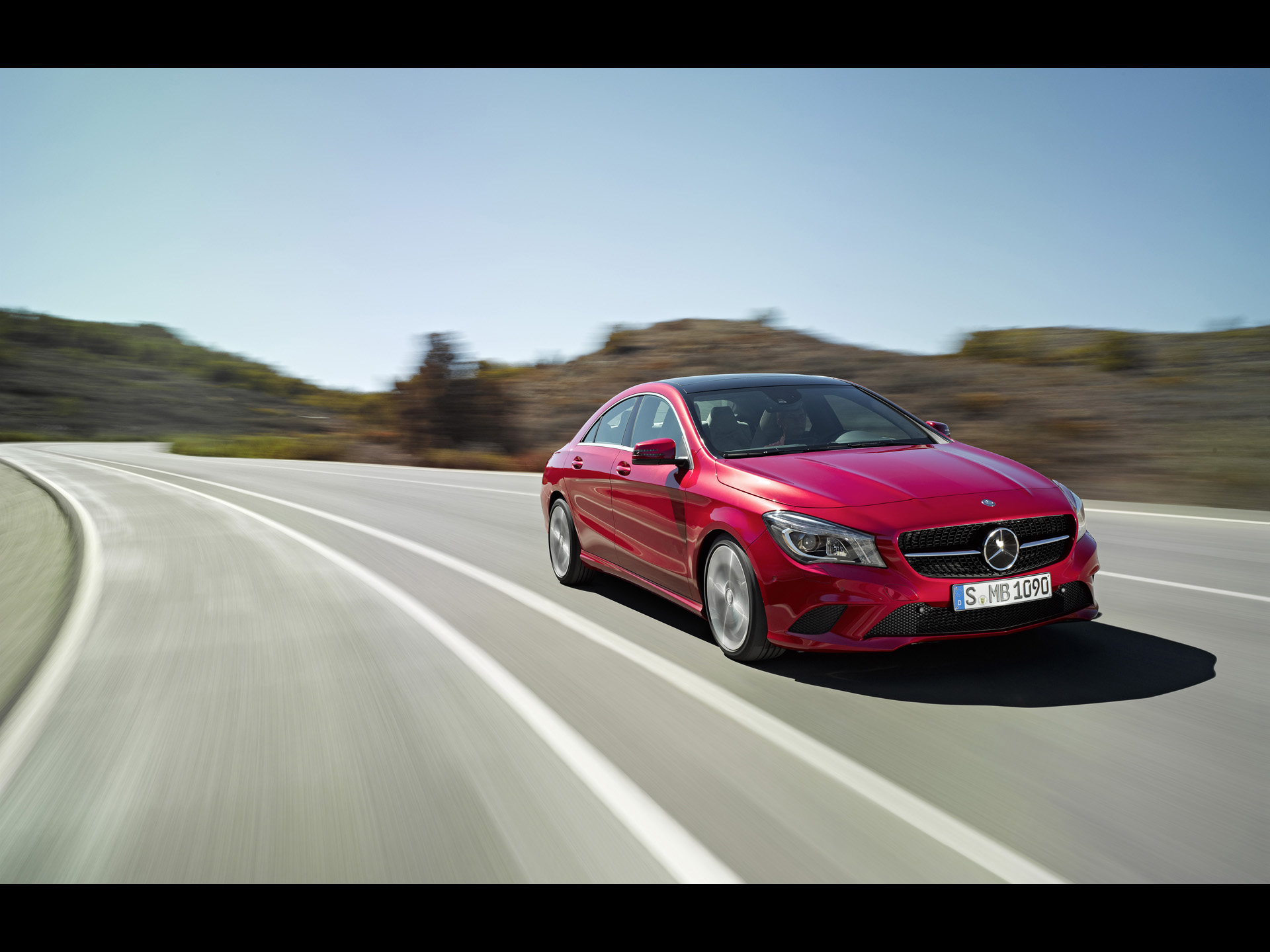 Super Cars Image of Mercedes Benz CLA, on Straight Road, Feeling Safe Enough 1920X1440 free wallpaper download