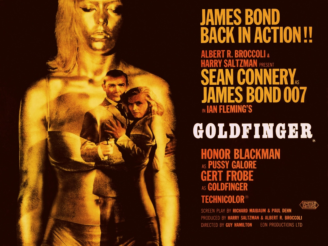 click to free download the wallpaper--TV & Movies Post - James Bond is with His Girl, a Golden Statue Behind Them 1152X864 free wallpaper download