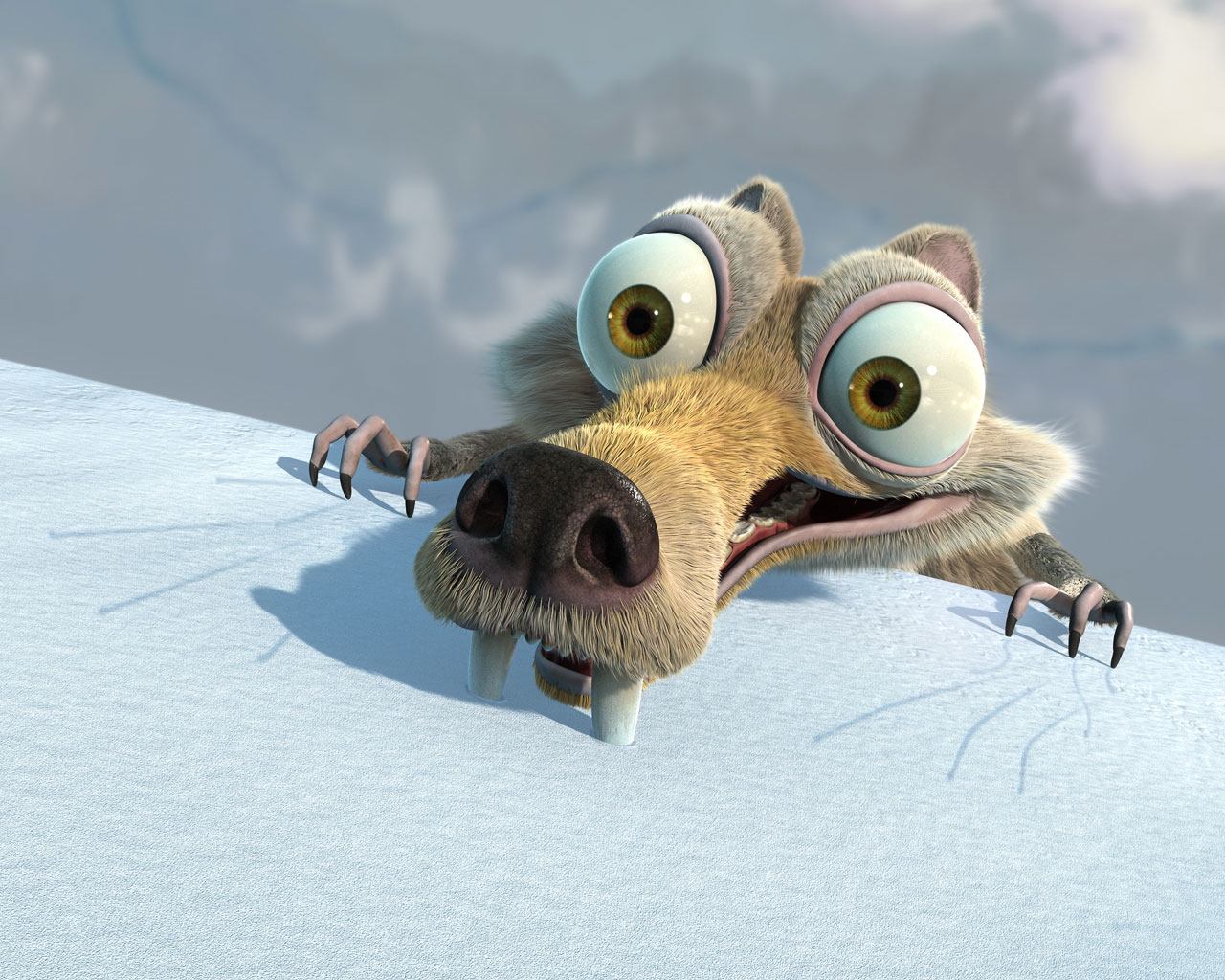 click to free download the wallpaper--TV & Movies Post, Scrat in Ice Age, Teeth Stuck Deep to Stop Falling