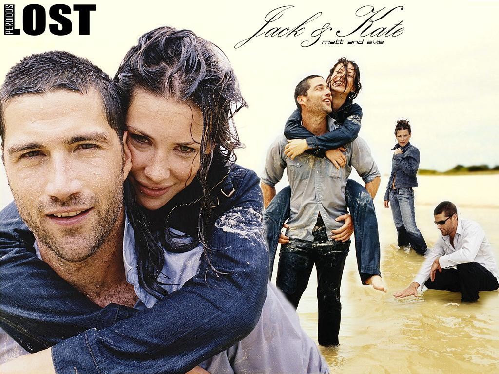 click to free download the wallpaper--TV Series Wallpaper, Jack and Kate in LOST, Great Lovers, Romantic Scenes