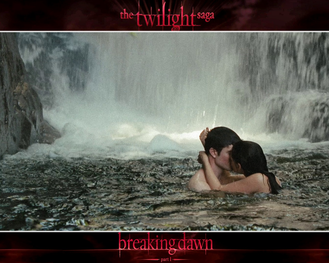 click to free download the wallpaper--TV Shows Pic, Edward and Bella Naked by Waterfall, Kissing Each Other, Be Together! 1280X1024 free wallpaper download