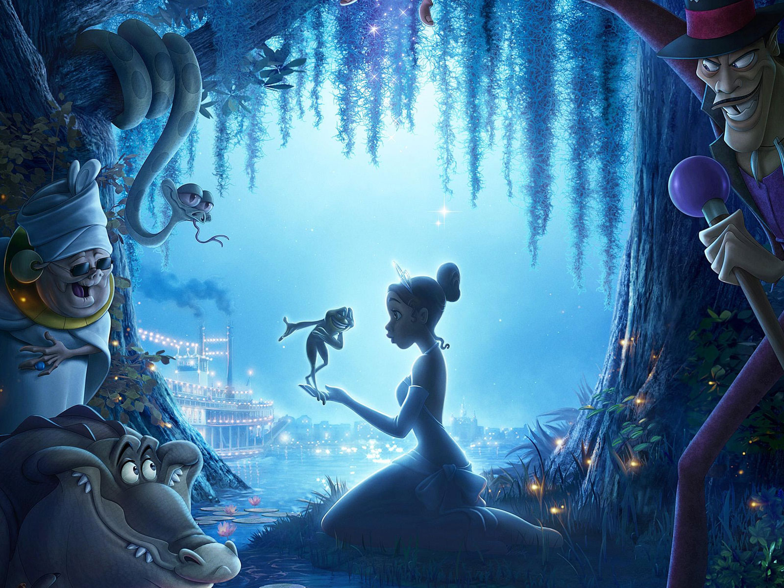 Tiana & prince naveen in the princess and the frog cartoon.