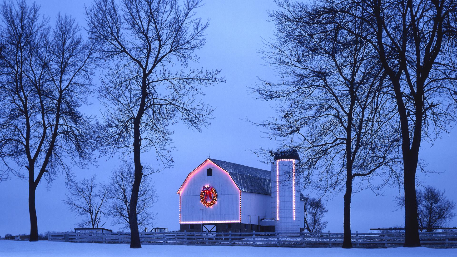 Snowy house free wallpaper world - Winter farm scenes wallpaper ...