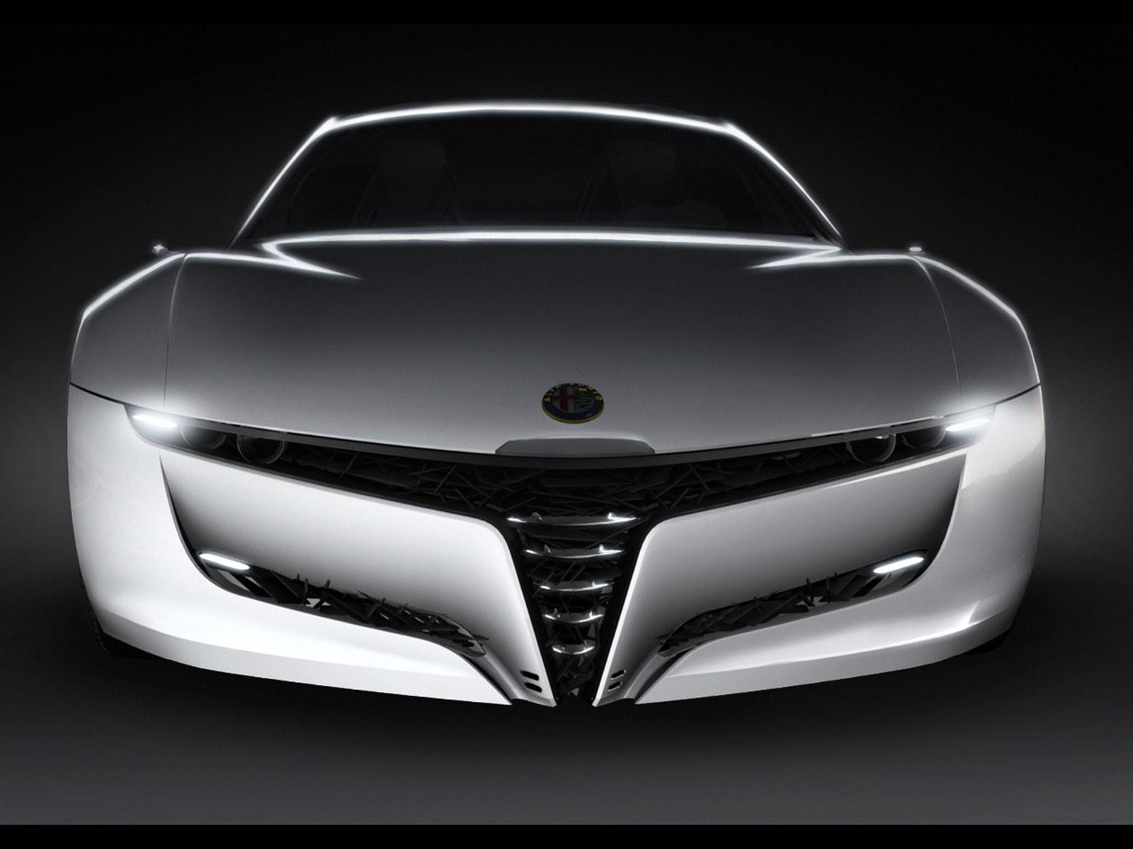 click to free download the wallpaper--Top Brand Cars Pic, Alfa Romeo in Front Angle, Sharp Eyes and Smooth Silhouette, a Super Car 1600X1200 free wallpaper download