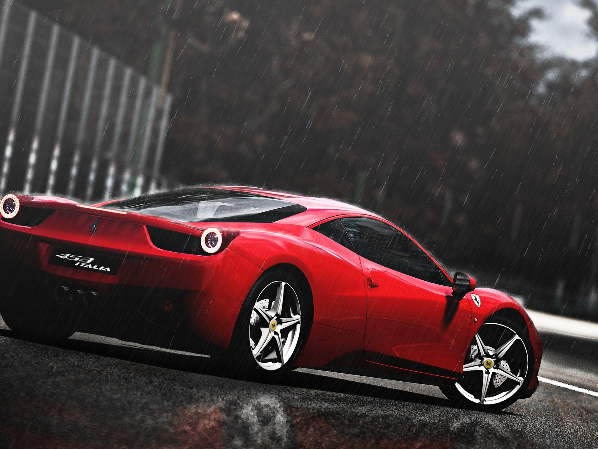 click to free download the wallpaper--Top Cars Image, Ferrari 458 in the Rain, Nothing Shall Affect Its Decency and Look 1920X1440 free wallpaper download