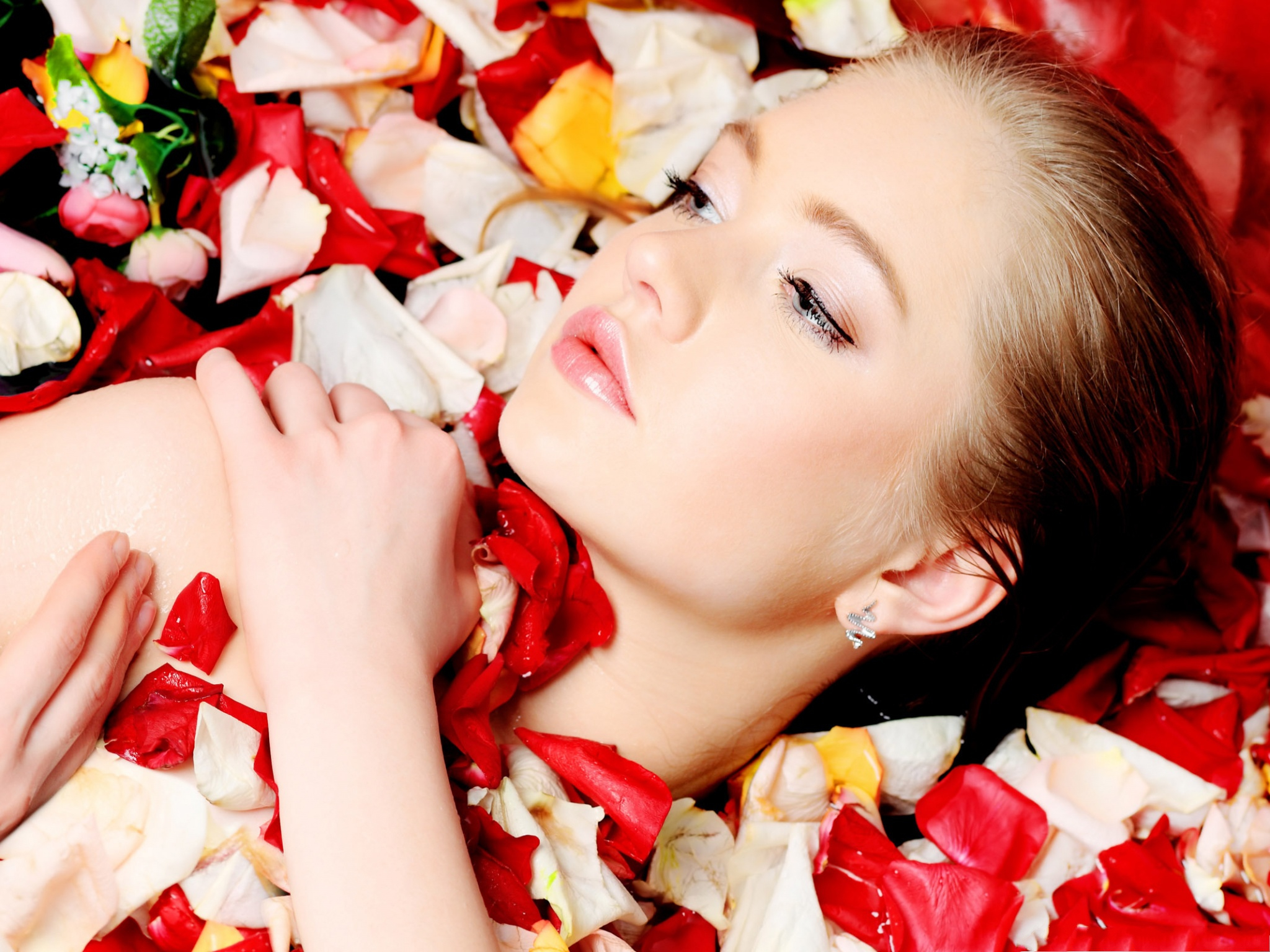 click to free download the wallpaper--Woman and Flowers, Model With Flower Petals, Taking Petal Bath 2048X1536 free wallpaper download
