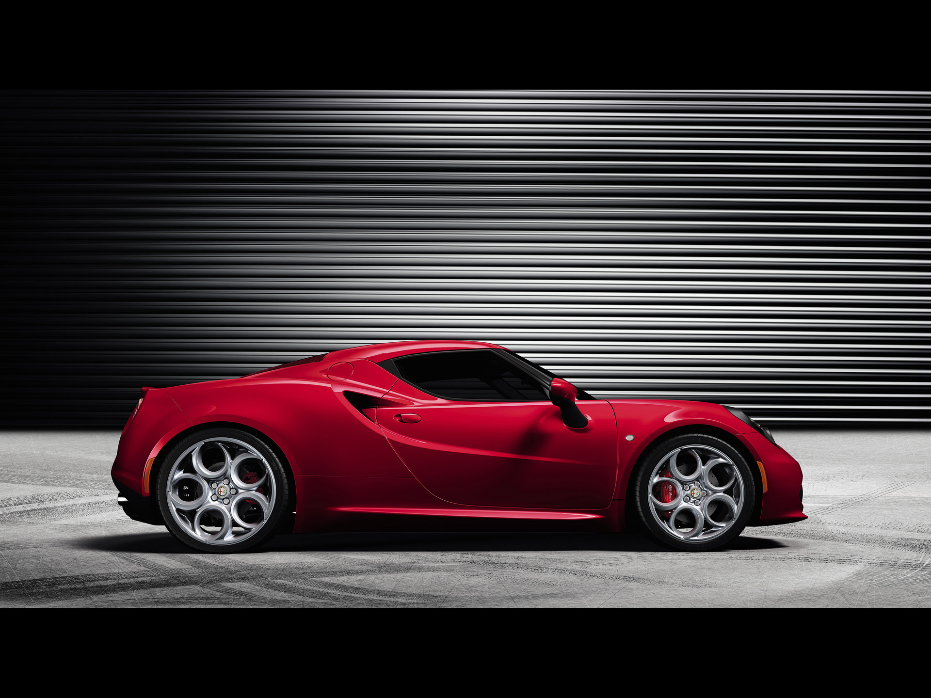 click to free download the wallpaper--World-Famous Super Cars Image of Red Alfa Romeo 4C Just Out from Its Garage, Expect Its Speed 1920X1440 free wallpaper download