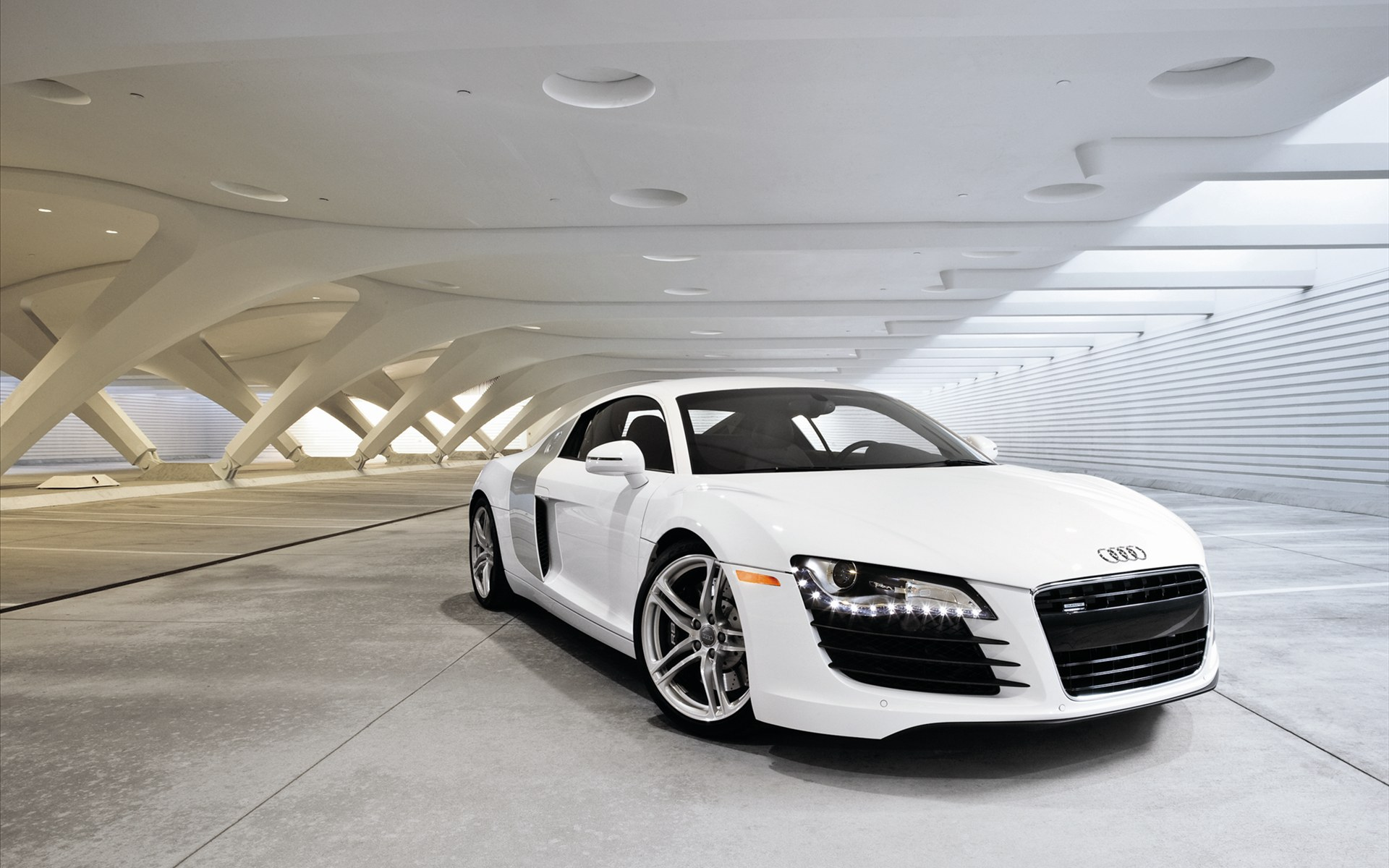 Free wallpaper of the top cars a white sports car audi r8 click to