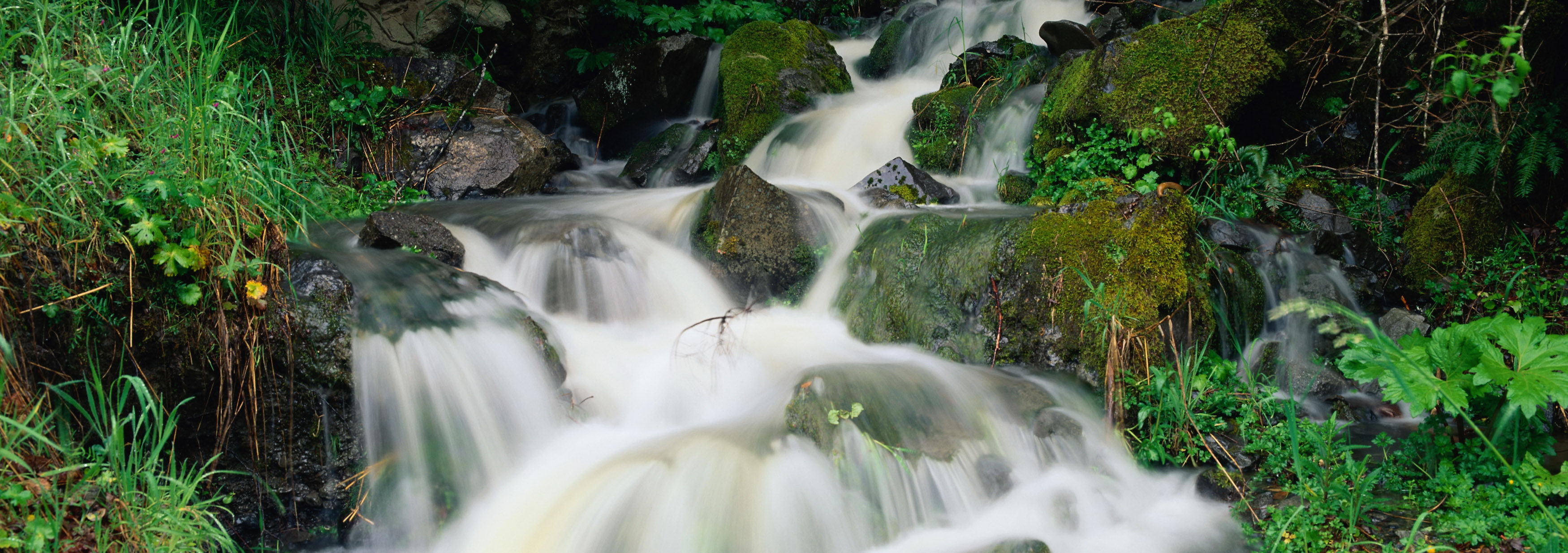 click to free download the wallpaper--natural scene photos - A River in Rpaid Flow, Green Stones Brushed Clean, is an Impressive Scene 3500X1234 free wallpaper download