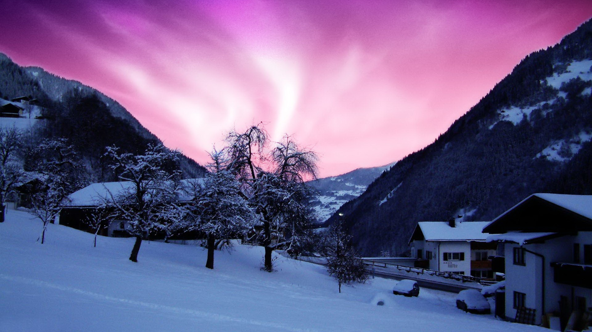 click to free download the wallpaper--natural scenery photos - A Heavy Snow is Over, the Pink Sky, Strikes As a Romantic Scene 1920X1080 free wallpaper download
