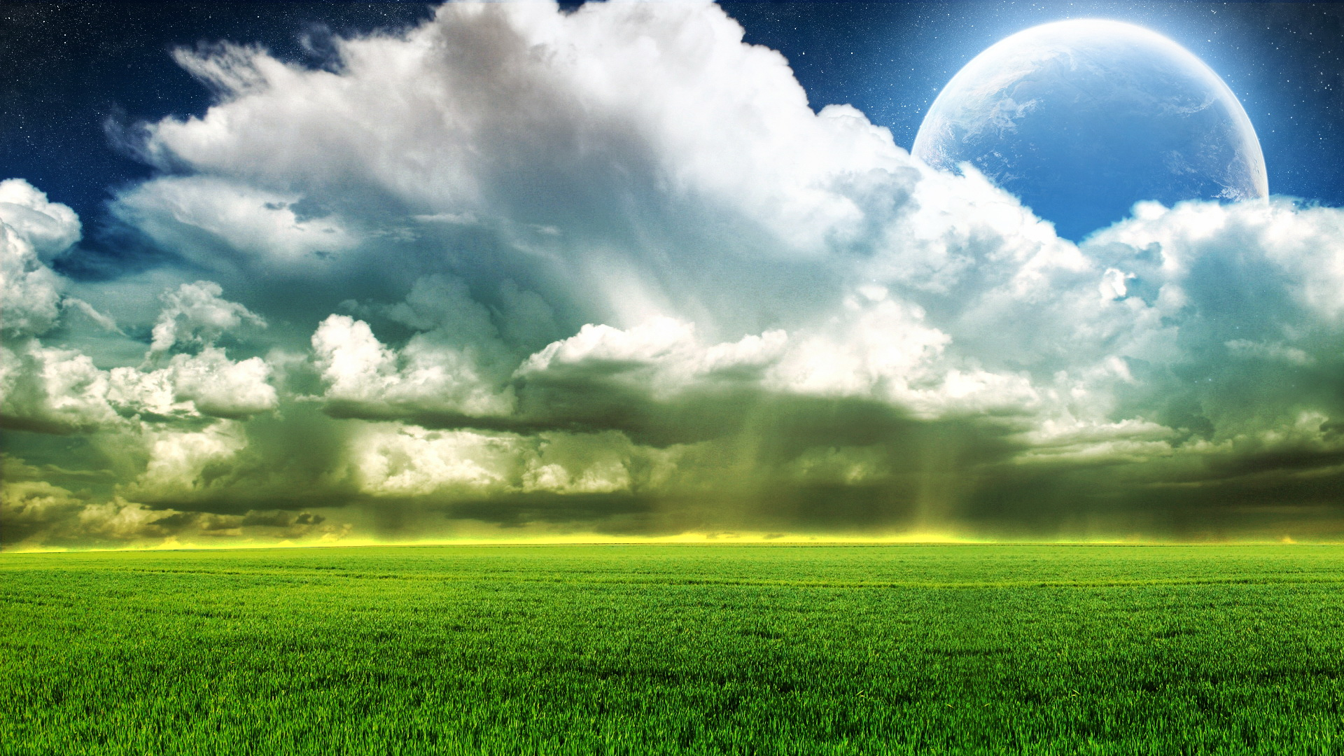 click to free download the wallpaper--picture of natural scene - The Planet Hiding Behind the White Clouds, Green Wheats, One Line is Golden 1920X1080 free wallpaper download