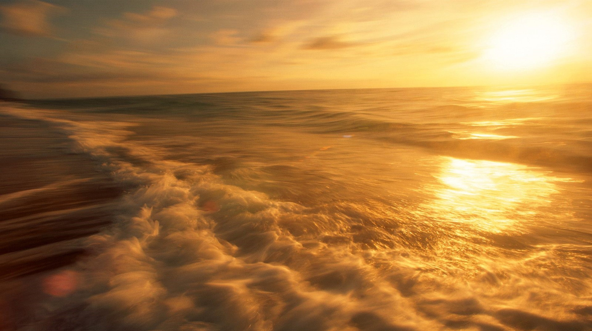picture of natural scene - The Rising Sun, Golden Light on the Sea Surface, Twisting River 1920X1080 free wallpaper download