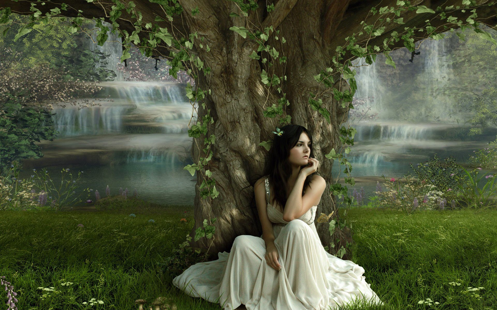 Wallpaper of a girl a girl sitting under the beautiful tree click to