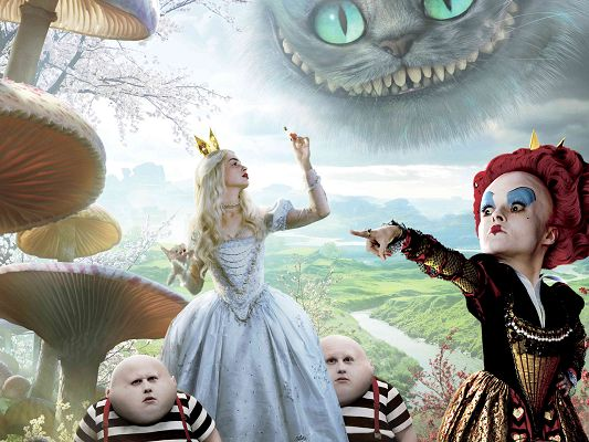 click to free download the wallpaper--2010 Alice in Wonderland Post in 1920x1440 Pixel, Short Queen in Various Facial Expressions, Alice is Lovely Still, Looking Good - TV & Movies Post