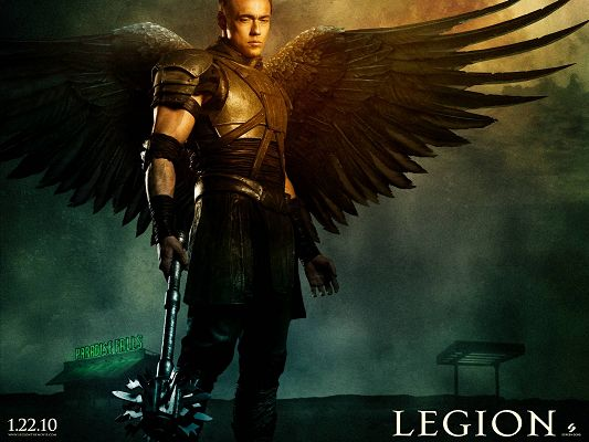 click to free download the wallpaper--2010 Legion Movie 2 Post in 1600x1200 Pixel, a Gloomy and Depressing Man, He is Not Living with His Wings - TV & Movies Post