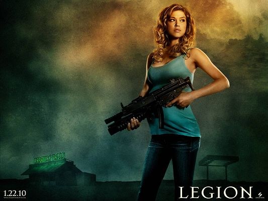 2010 Legion Movie Post in 1600x1200 Pixel, Pregnant as the Lady is, She Never Fails to Make the Shoot, She is Tough and Determined - TV & Movies Post