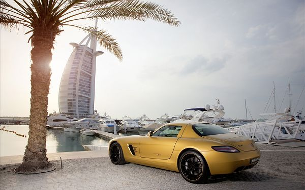 2010 Mercedes Benz Desert Gold Post in Pixel of 1920x1200, Car by Beachside, It is More Attractive than the Natural Scenery - HD Cars Wallpaper