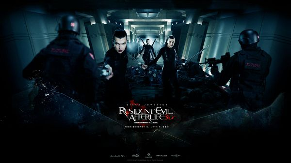 click to free download the wallpaper--2010 Resident Evil Afterlife Post in 1920x1080 Pixel, All Guys, Men and Women, Are in Black Suit, They Are Indeed Cool - TV & Movies Post