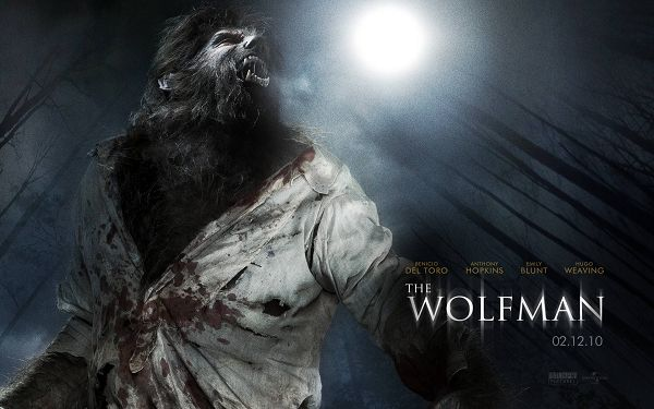 click to free download the wallpaper--2010 The Wolf Man Post in 1920x1200 Pixel, Werewolf Experiencing the Turning at Moon Night, He is Bleeding and Suffering - TV & Movies Post