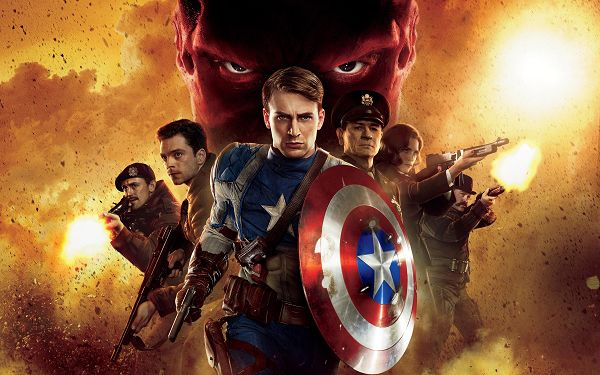 click to free download the wallpaper--2011 Captain America First Avenger Post in Pixel of 2560x1600, the Guys are Brave and Tough, Wish Them a Safe Journey - TV & Movies Post