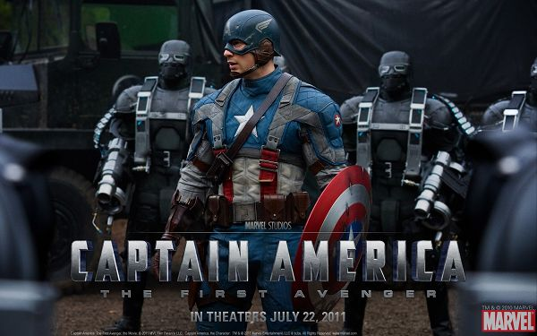 click to free download the wallpaper--2011 Captain America Post in 1920x1200 Pixel, a Well-Equipped Man Followed by a Group of Robots, Quite Imposing in the Look - TV & Movies Post