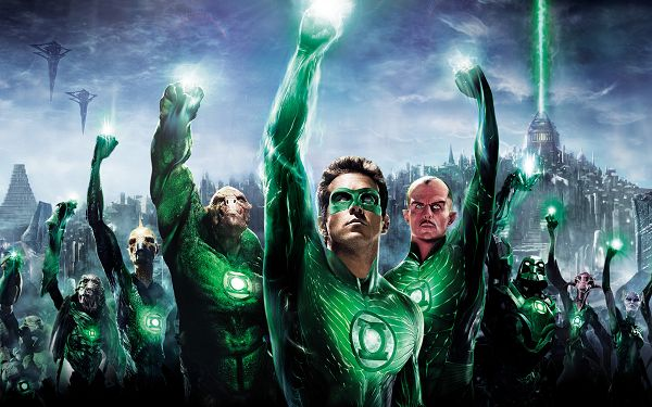 click to free download the wallpaper--2011 Green Lantern 3D Post in 2560x1600 Pixel, the Guys Are Looking up at the Sky, Must Have Been Assigned Some Big Task - TV & Movies Post
