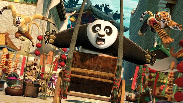 click to free download the wallpaper--2011 Kung Fu Panda 2 Post in 1600x900 Pixel, Panda is on Wooden Car, Something is in Front, Make Sure You Don't Get Hurt - TV & Movies Post
